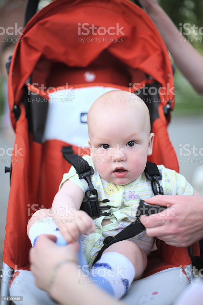 Baby in sitting stroller #3 royalty-free stock photo