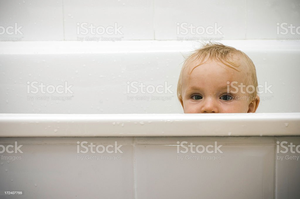 Baby in the bath royalty-free stock photo