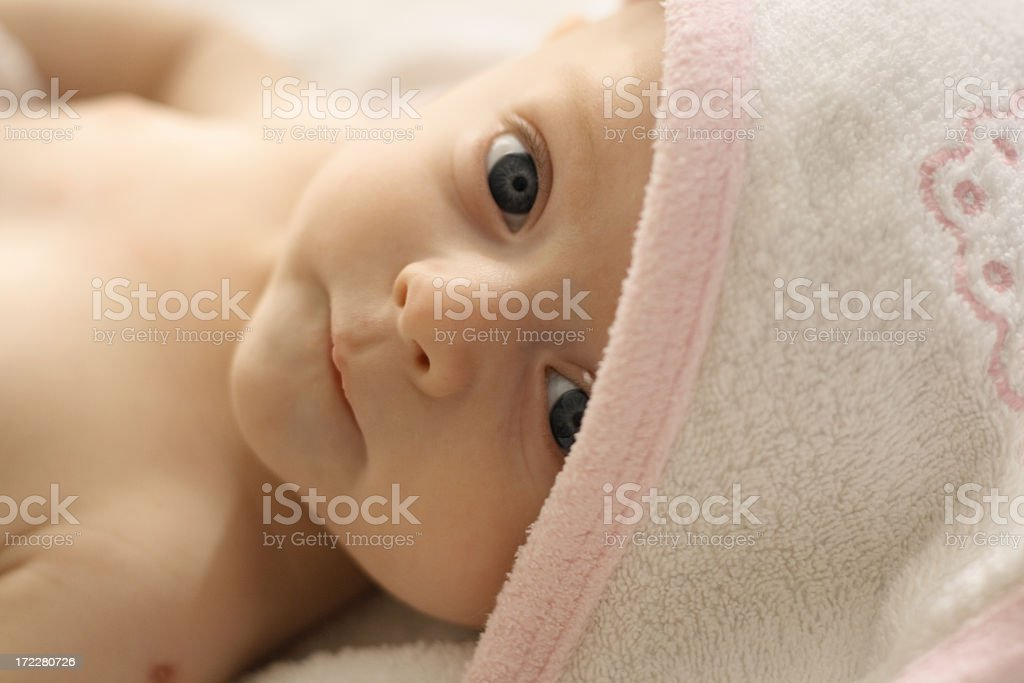 Baby in towel royalty-free stock photo