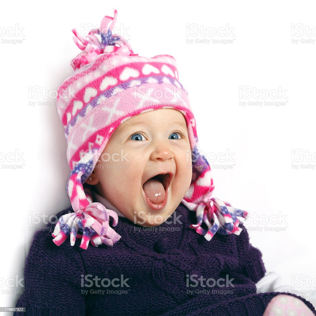 Baby in Winter Hat stock photo