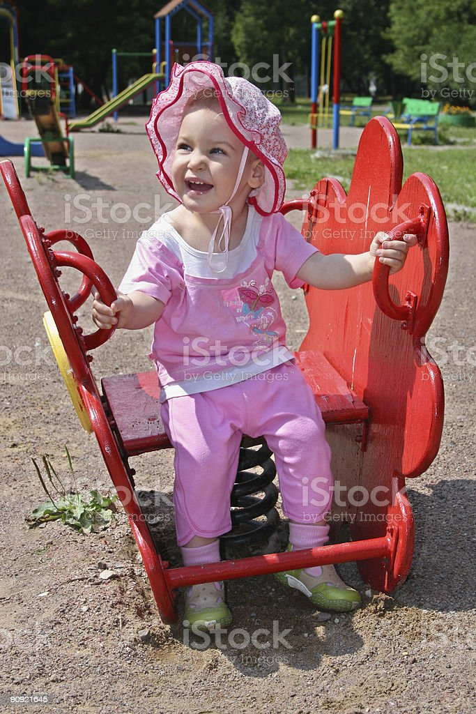 baby in yard royalty-free stock photo