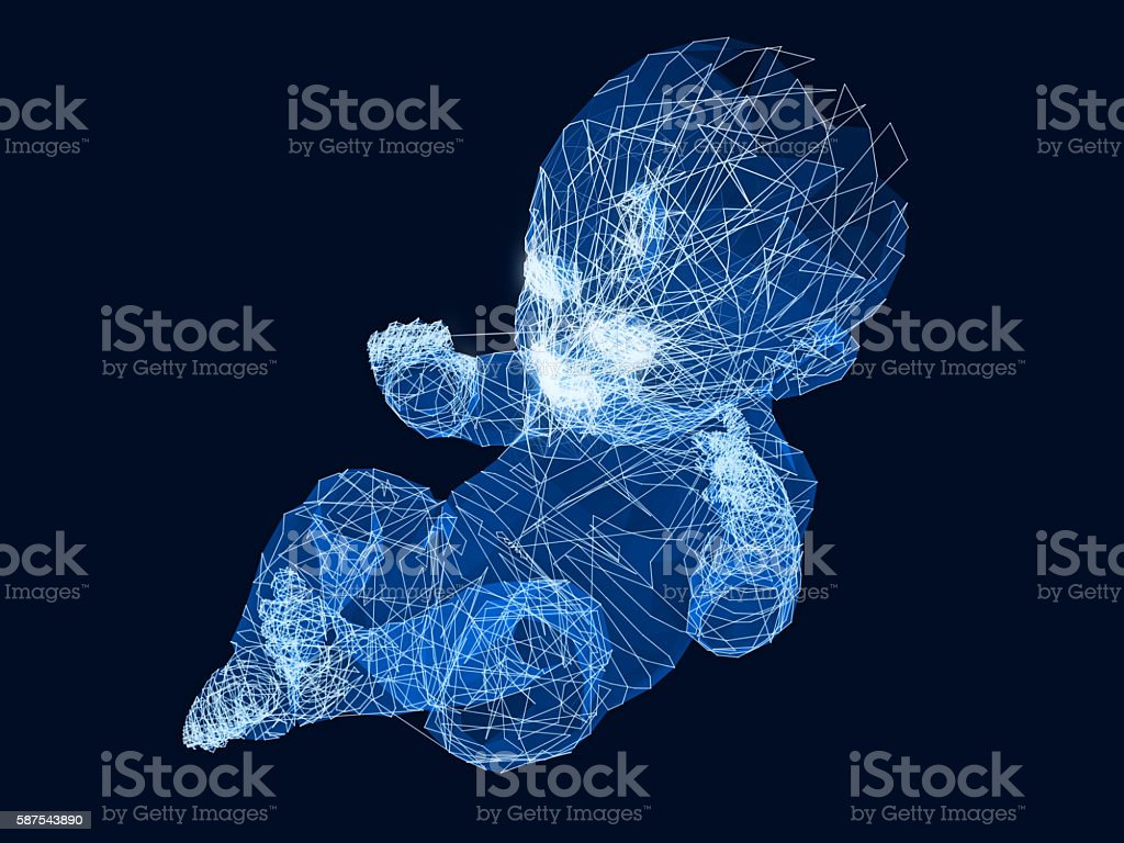 baby infant sketch graphics.3D rendering. stock photo