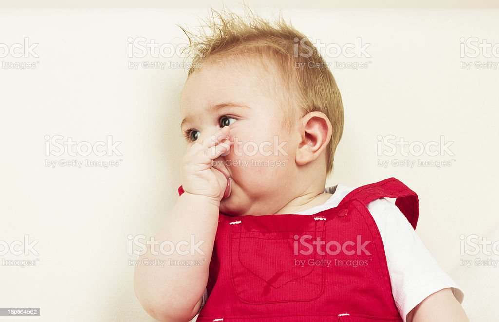 Baby itchy gums royalty-free stock photo