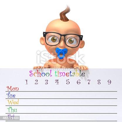 istock Baby Jake holding school timetable 483779400