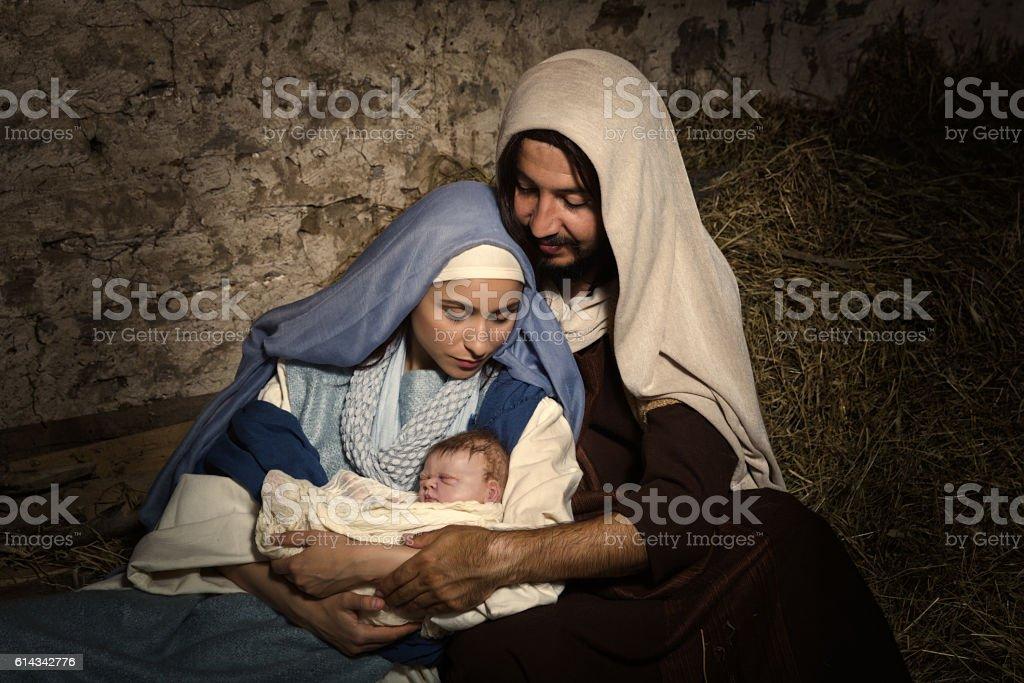Baby Jesus in nativity scene stock photo