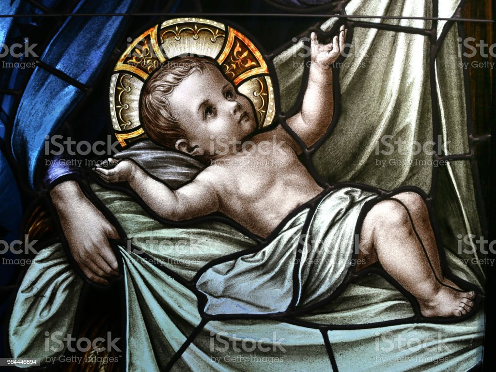Baby Jesus in Swaddling Clothes Stained Glass Window - Royalty-free Baby - Human Age Stock Photo