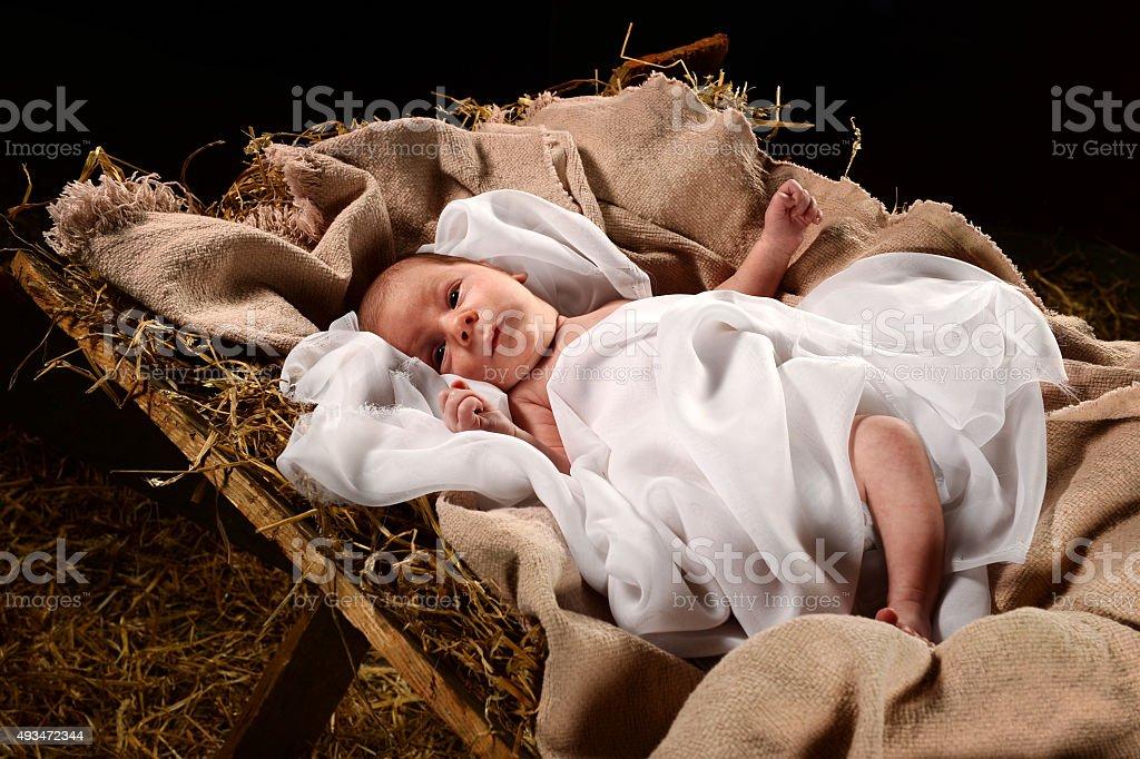 Baby Jesus on the Manger stock photo