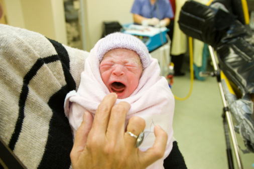 Baby Just Born And Crying Stock Photo - Download Image Now ...