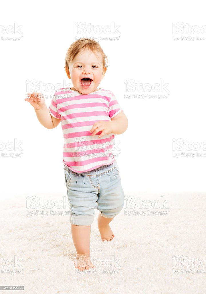 Baby Kid One Year Old, Little Child Girl, Happy Toddler stock photo