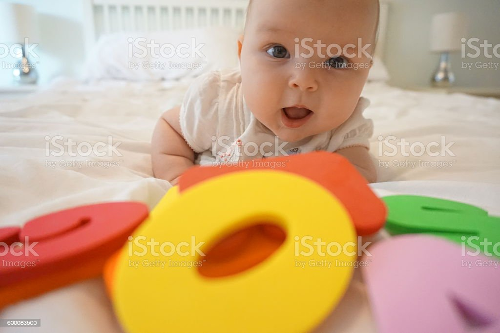 Baby learning stock photo