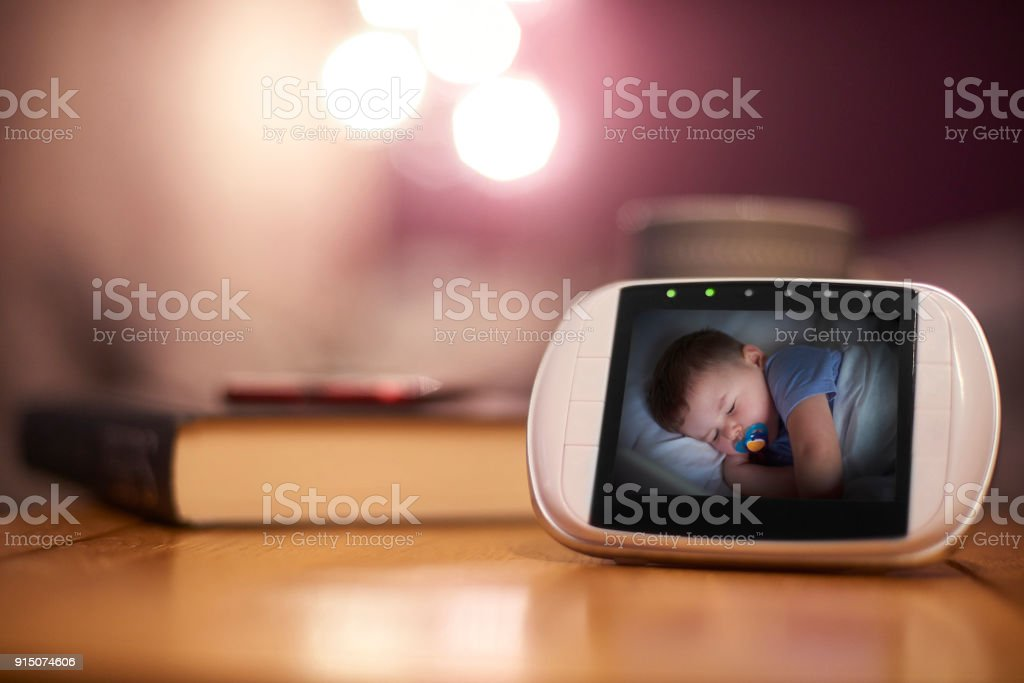 Baby Monitor in living room stock photo