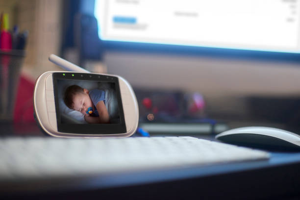 Baby monitor on desk stock photo