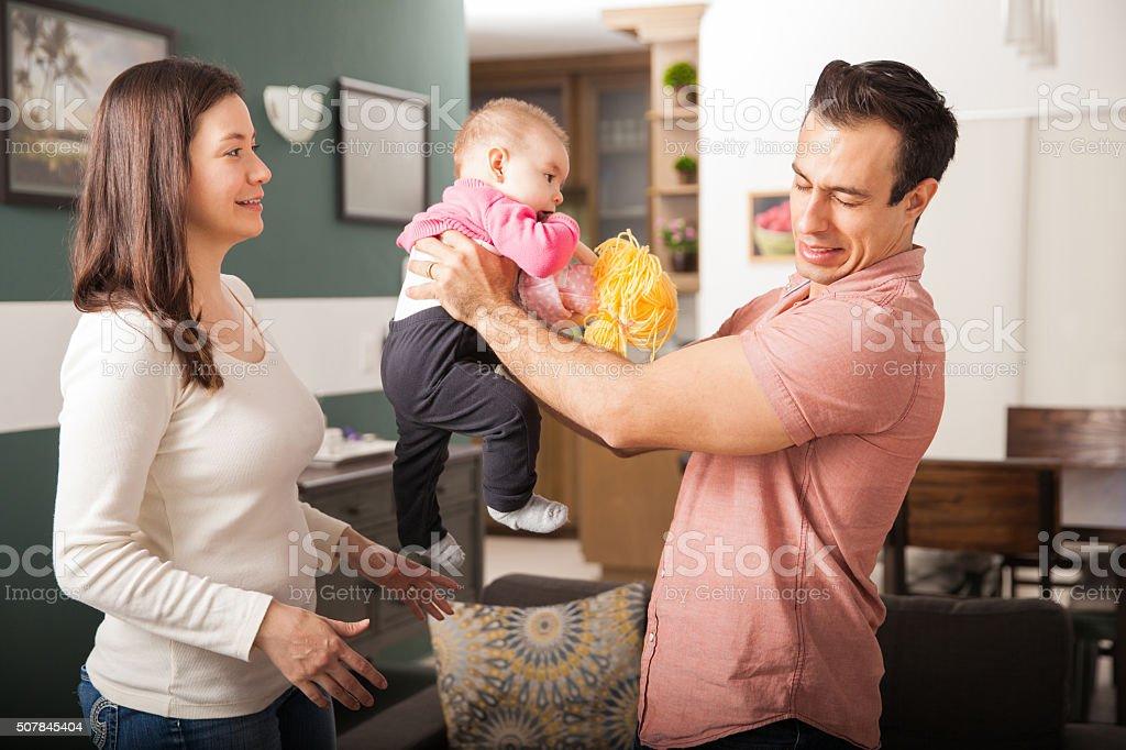 Baby needs a diaper change stock photo