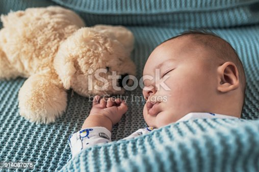 Photo of sleeping newborn baby on a blanket with a teddy. Peaceful baby lying on a bed while sleeping in a bright room with his teddy bear. My Best Friend.  Family at home. Love. Baby newborn portrait, boy kid newborn resting with toy dog friend.
