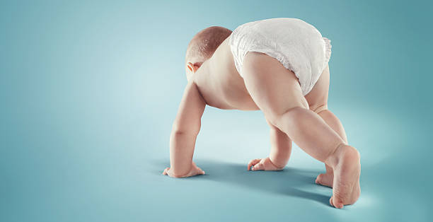 Baby. Newborn in the diaper. Isolated - foto stock