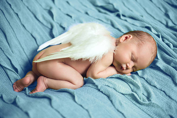 Baby Newborn With Angel Wings - foto de stock