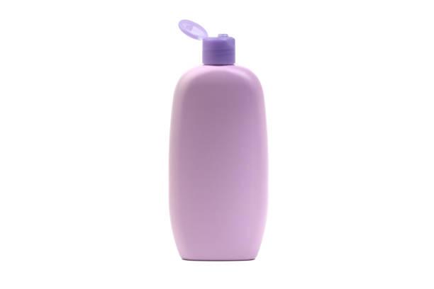 frasco do petróleo ou do champô do bebê isolado no fundo branco. - shampoo - fotografias e filmes do acervo