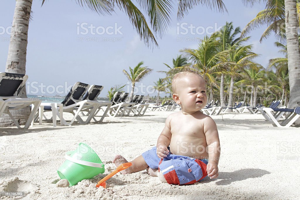 Baby on Beach royalty-free stock photo
