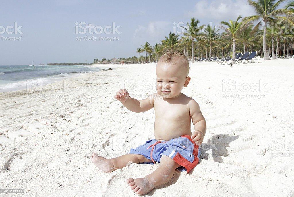 Baby on Beach stock photo
