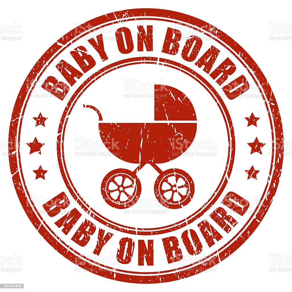 Baby on board stamp stock photo
