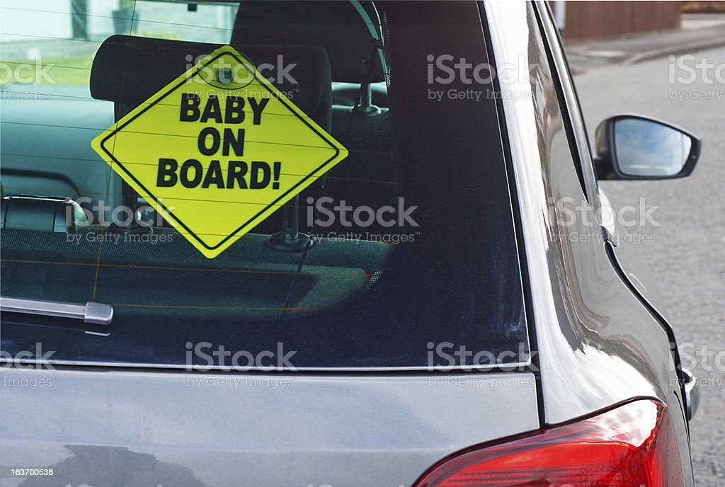 Baby on board warning sign stock photo