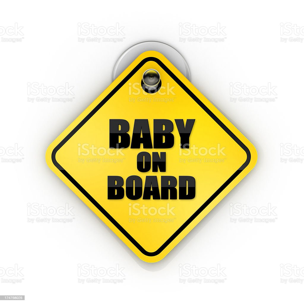 A baby on board yellow sign for the car window stock photo
