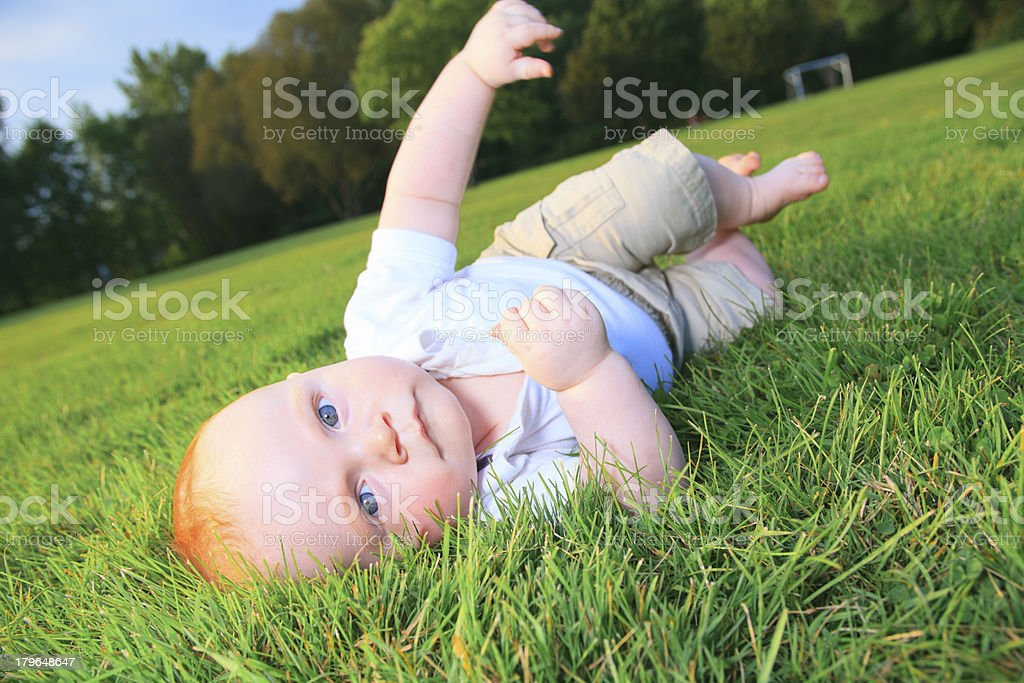 Baby on Grass royalty-free stock photo