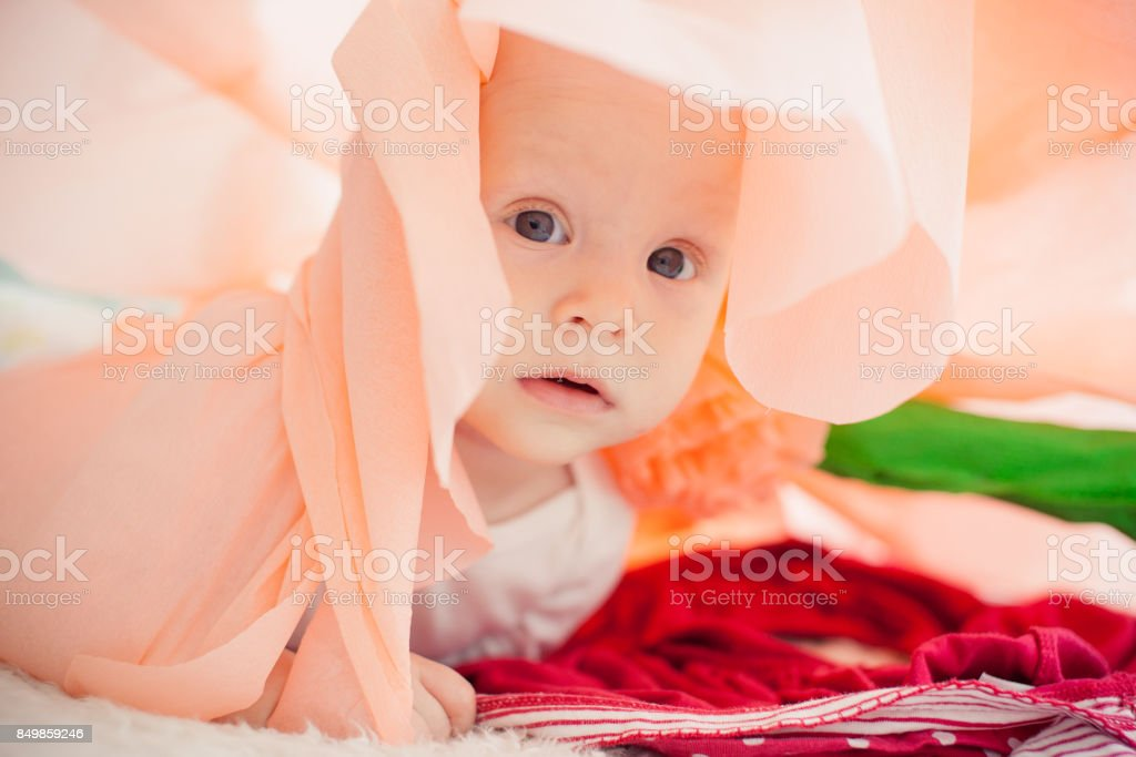 baby on the bed in a paper flower stock photo