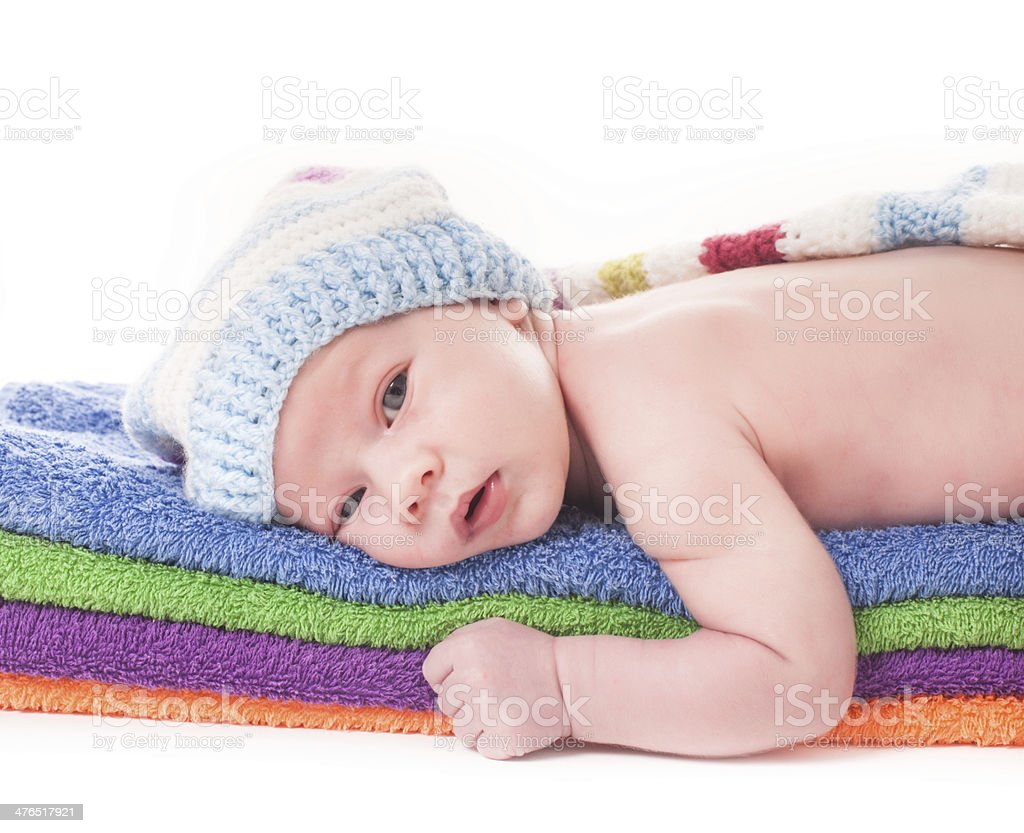 Baby on towels royalty-free stock photo