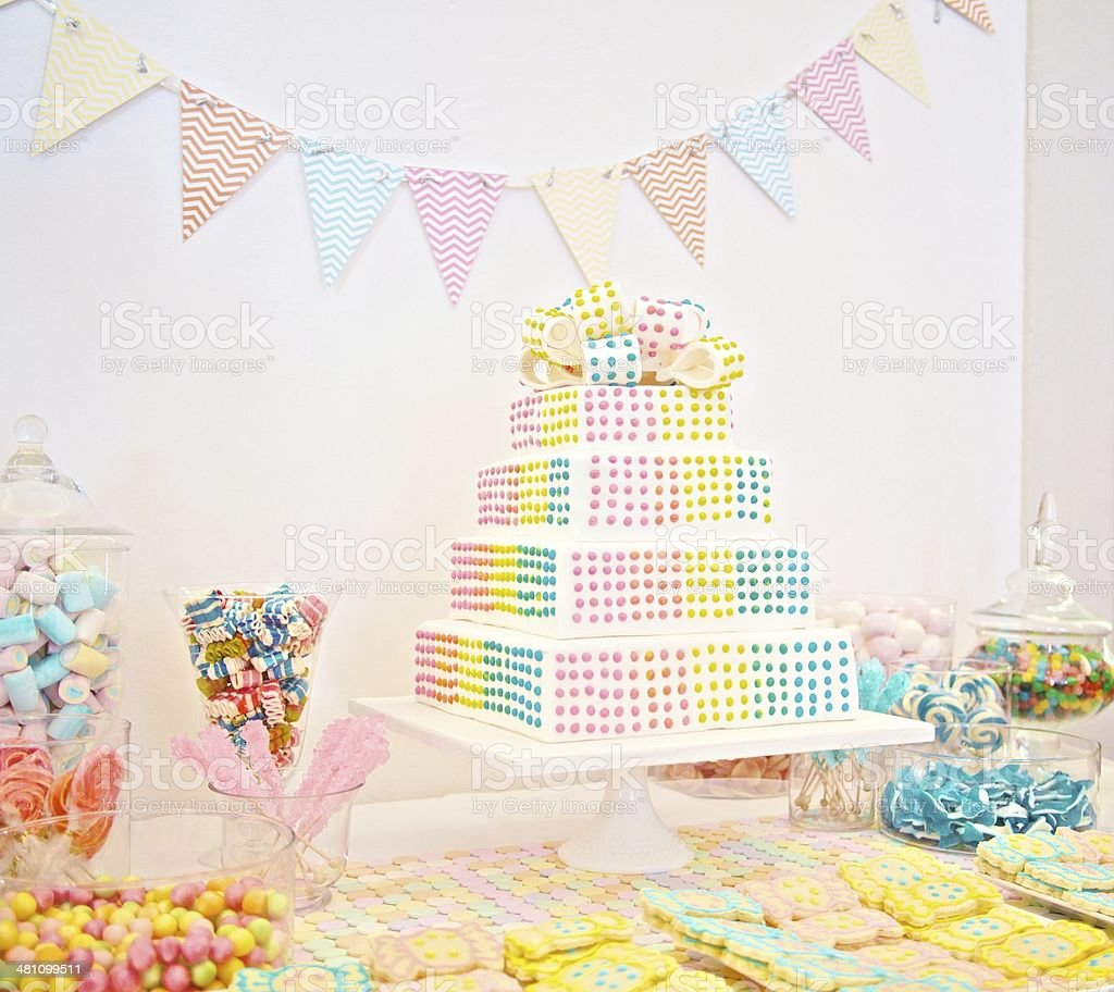 Baby Party Table Setting With Cake And Candies