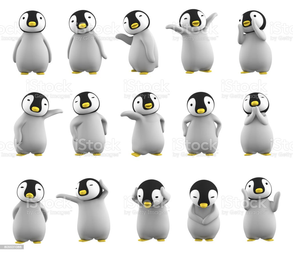 baby penguin character posing set on white background stock photo