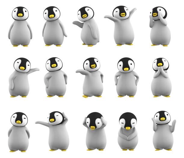 baby penguin character posing set on white background stock photo