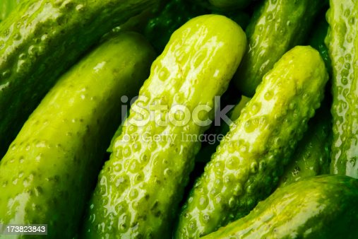 Baby size pickles.