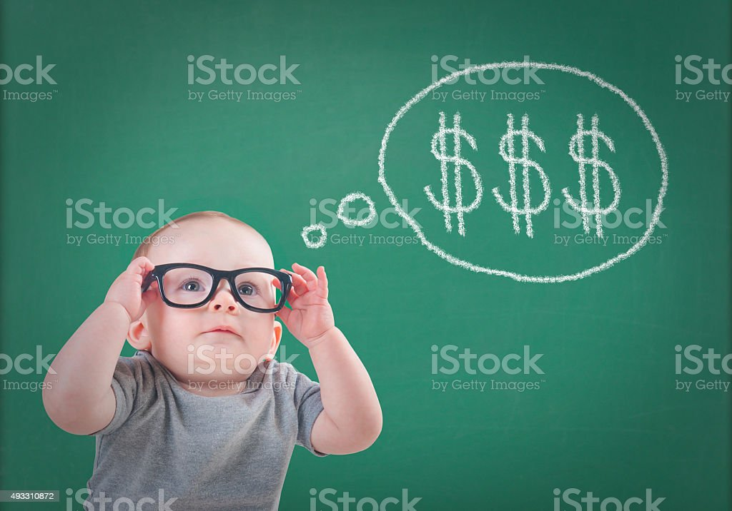 Baby plans for future savings stock photo