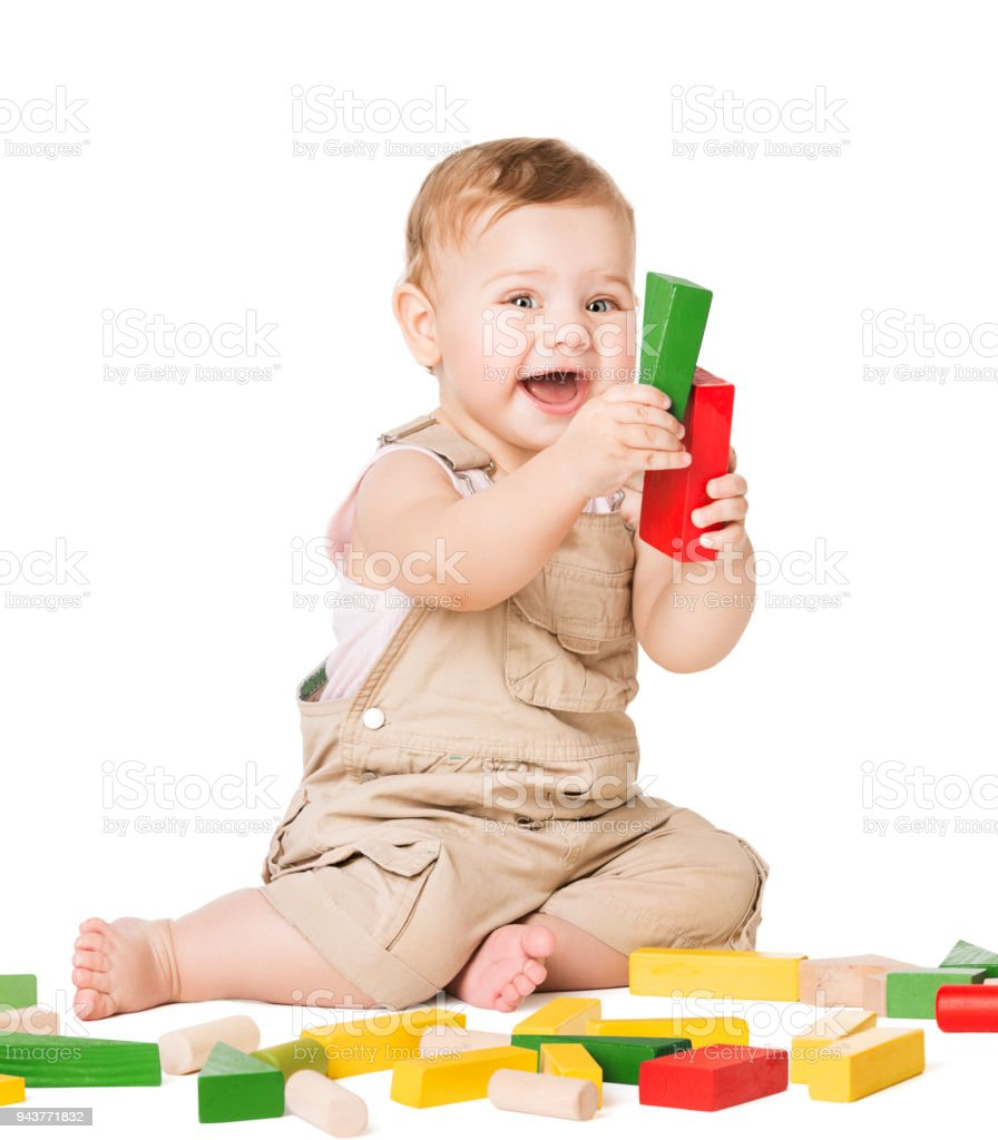 Baby Play Toys Blocks Happy Infant Kid Playing Wooden Bricks Child