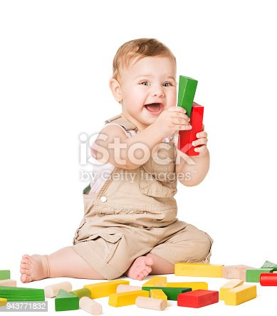 istock Baby Play Toys Blocks, Happy Infant Kid Playing Wooden Bricks, Child White Isolated 943771832