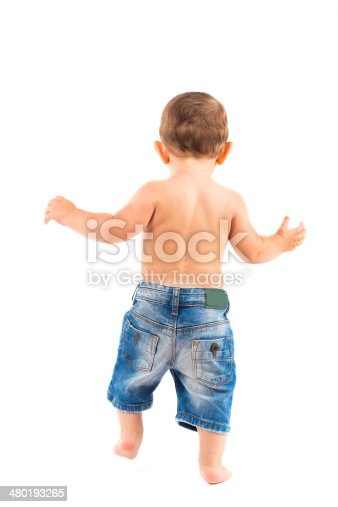 istock Baby playing with toys isolated on white background 480193265