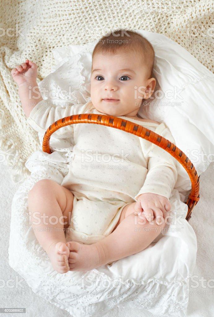 baby portrait lie on white towel in bed zbiór zdjęć royalty-free