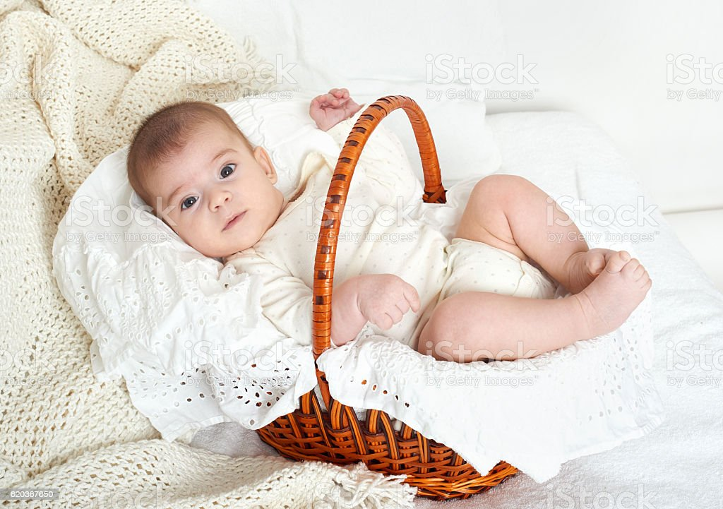 baby portrait lie on white towel in bed foto de stock royalty-free