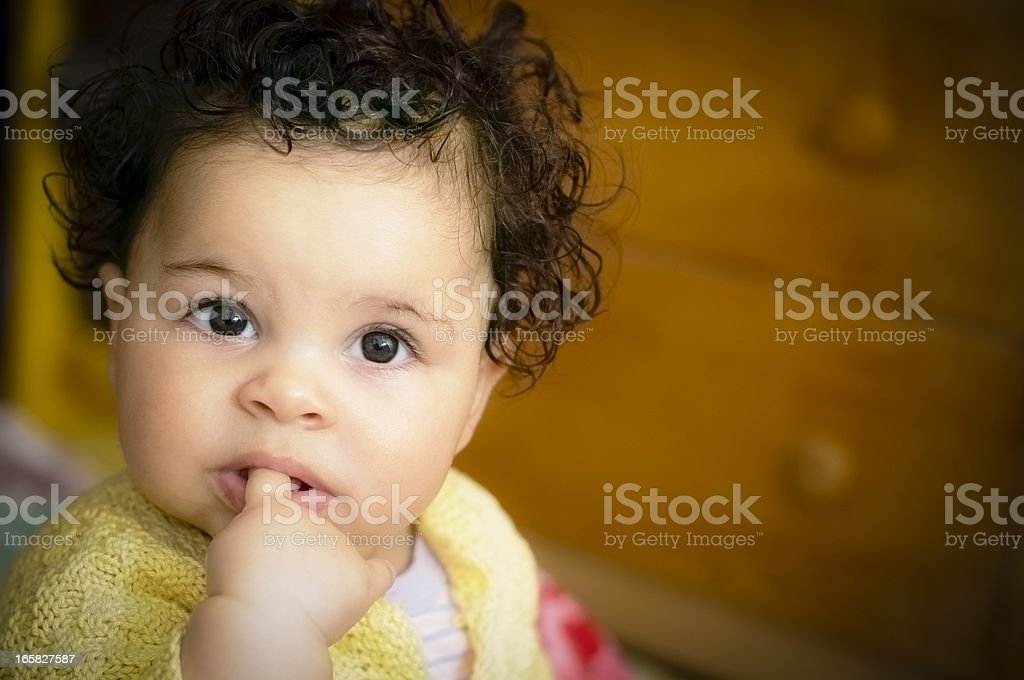 Baby (6 months old) Portrait With Finger In Mouth royalty-free stock photo