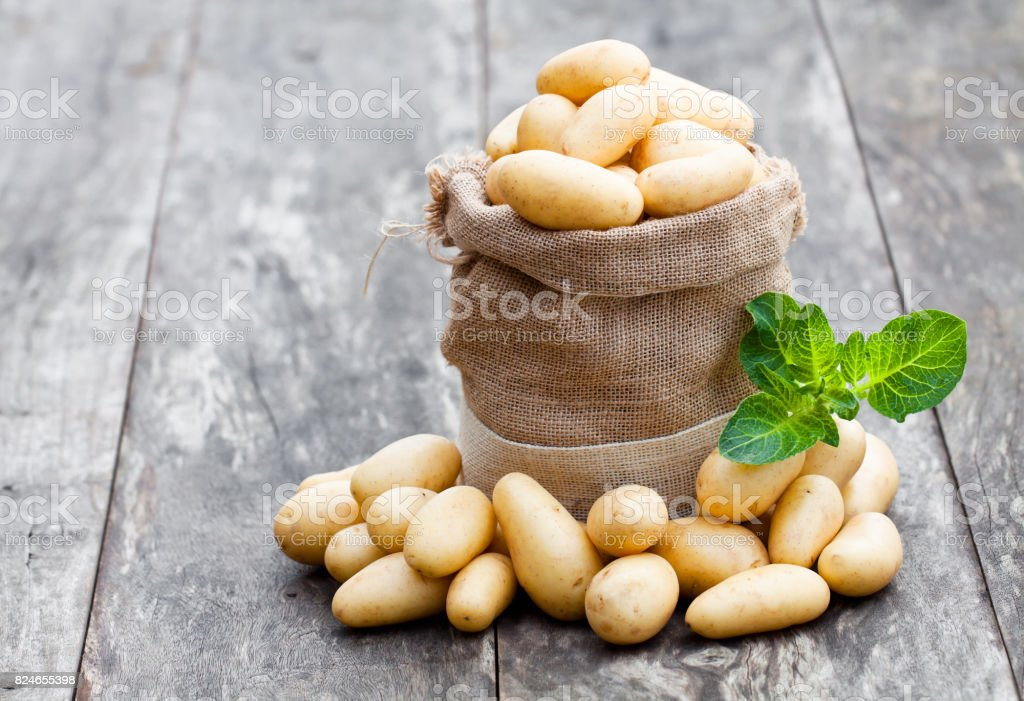 Baby  potatoes in burlap sack on wooden background stock photo