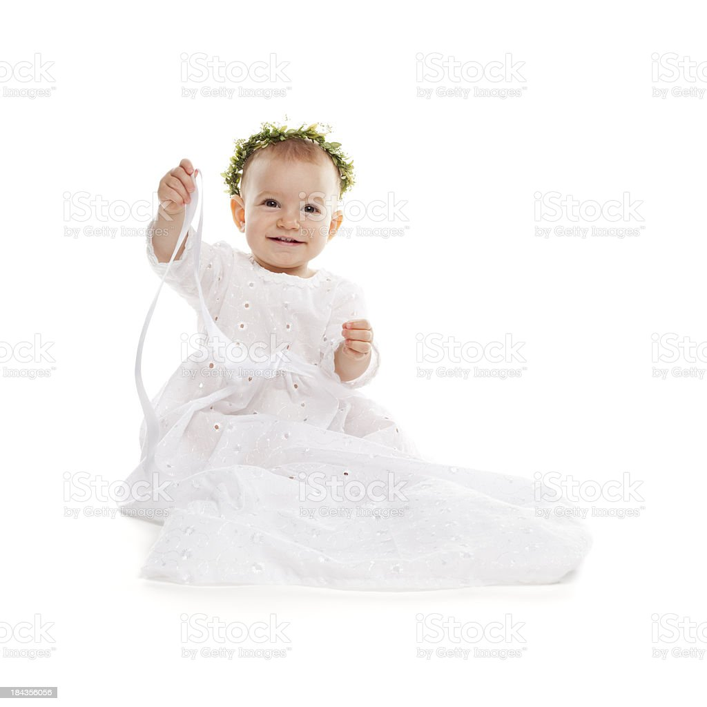af0f825de Baby princess. Baptism Girl Dress white Small Celebration Clothing - Stock  image .
