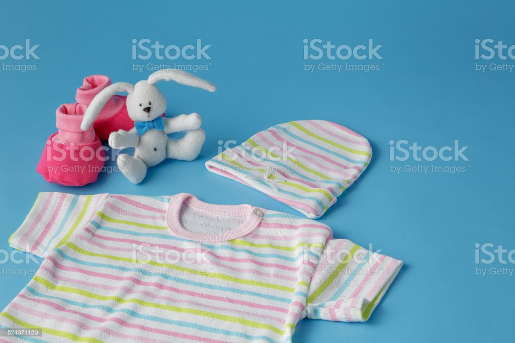 Baby Products on Blue Background stock photo