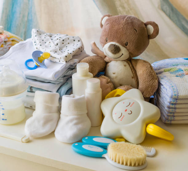 baby products, symbols for newborns, stock photo