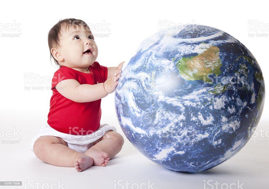 baby protecting the world royalty-free stock photo