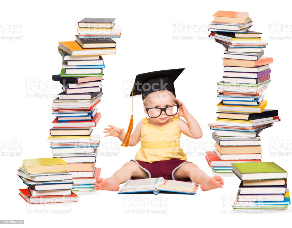 Baby Read Book in Graduation Hat and Glasses, Smart Child near Books Pile Stacks, Children Education, White Isolated stock photo