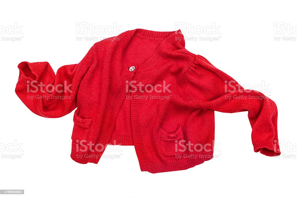 baby red jacket in motion on a white background isolated stock photo