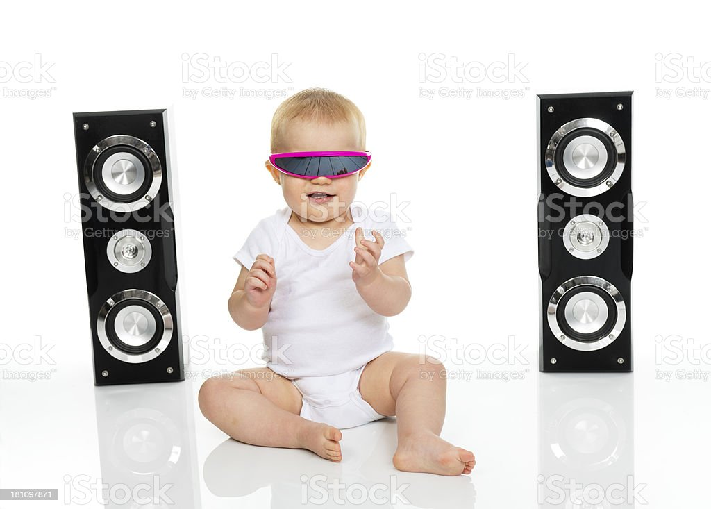 Baby rocking out royalty-free stock photo