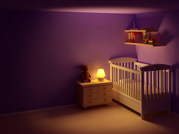baby room at night Baby's bedroom with commode and bear at night.  Empty room, night scene crib stock pictures, royalty-free photos & images