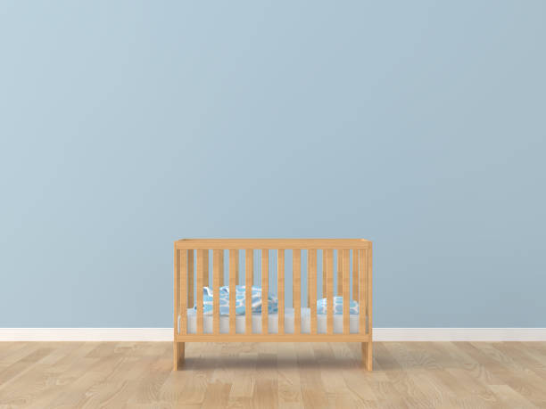 Baby room bed room 3d rendering image Baby room bed room 3d rendering image crib stock pictures, royalty-free photos & images